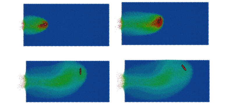 Sand-ricochet simulation using IMPETUS software.