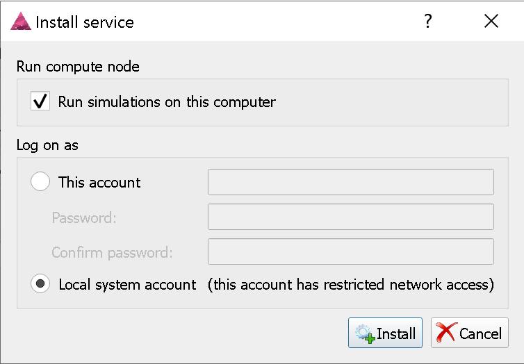 Installing the server service